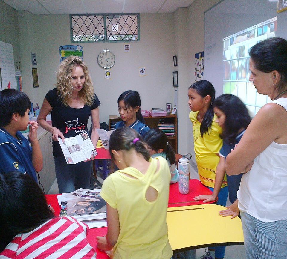 An educational outreach with elementary school students from Jakarta International School (JIS).